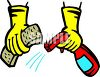 Hands, Wearing Rubber Gloves, Using a Spray Cleanser clipart