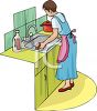 Woman Cleaning Her Kitchen Sink clipart