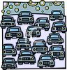 Lots of Cars Making Pollution clipart