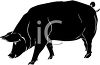 Silhouette of a Fat Hog clipart