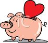 Piggy Bank with a Heart clipart