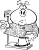 Pig Weighing Herself clipart