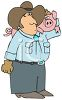 Farmer Holding a Pig on His Shoulder clipart