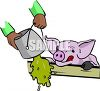 Hungry Little Pig Waiting for Food clipart