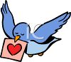 Blue Bird Delivering a Valentine clipart