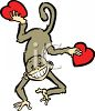 Valentine Monkey Holding Hearts clipart