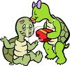 Turltes Exchanging Valentines clipart