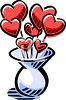 Valentine Hearts in a Vase clipart