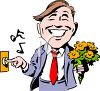 Realistic Clip Art of a Man Ringing the Doorbell with Flowers clipart