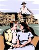 Realistic Clip Art of a Couple in a Gondola clipart