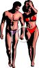 Realistic Clip Art of a Couple in Bathing Suits Walking on a Beach clipart