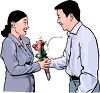 Realistic Clip Art of an Asian Man Giving His Sweetheart Flowers clipart