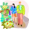 Couple Walking Past an Outdoor Florist clipart
