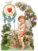 Victorian Valentine Card with a Cupid Holding a Bow and Arrows clipart
