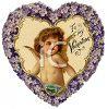 Heart Shaped Victorian Valentine Card Made of Violets clipart