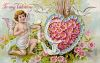 Victorian Valentine Card Showing a Cupid and a Heart Made of Peonies clipart