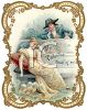 Victorian Valentine Card Showing a Man Gazing at His Love clipart
