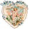 Heart Shaped Victorian Valentine Card with a Cupid and a Lace Heart clipart