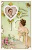 Victorian Valentine Card  of a Woman at Her Dressing Table clipart