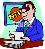 News Anchorman Doing His Report clipart