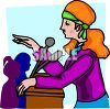 Woman Holding a Press Conference  clipart