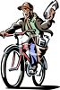 Retro Clip Art of a Paper Boy on His Bike clipart
