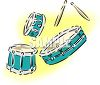 Separate Drums and a Set of Drum Sticks clipart