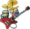 Drums, Cymbals and an Electric Guitar clipart