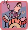 Cartoon of a Drummer Playing on a Jazz Kit clipart