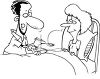 Black and White Cartoon of a Man Feeding a Woman Who's Sick in Bed clipart