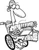 Black and White Cartoon of an Accident Victim clipart