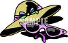 Sunglasses and a Straw Hat clipart