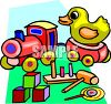 Wooden Toys-Train, Duck and Blocks clipart
