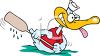 Cartoon Sailor Duck Rowing with One Oar clipart