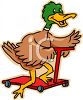 Cartoon Duck Riding a Scooter clipart
