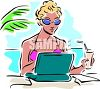 Woman Working on a Computer at the Beach clipart
