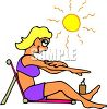 Woman Getting a Tan at the Beach clipart