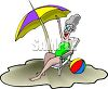 Grandma at the Beach clipart