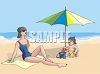 Boy and His Mother at the Beach clipart