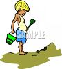 Little Boy Playing with a Pail and Shovel at the Beach clipart