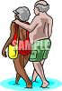 Elderly, Interracial Couple Walking in the Surf clipart