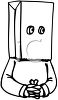 Black and White Cartoon of a Man with a Bag on His Face clipart