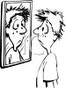 Black and White Cartoon of a Kid Looking at His Pimples in a Mirror clipart