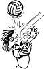 Black and White Cartoon of a Kid Getting Hit in the Face with a Volleyball clipart