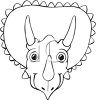 Black and White Cartoon of a Triceratops Face clipart