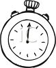 Black and White Cartoon of a Stop Watch clipart