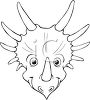Black and White Cartoon of a Triceratops  clipart