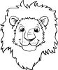 Black and White Cartoon of a Lion's Face clipart