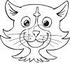 Black and White Cartoon of a Cat Face clipart