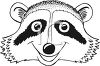 Black and White Cartoon Raccoon Face clipart
